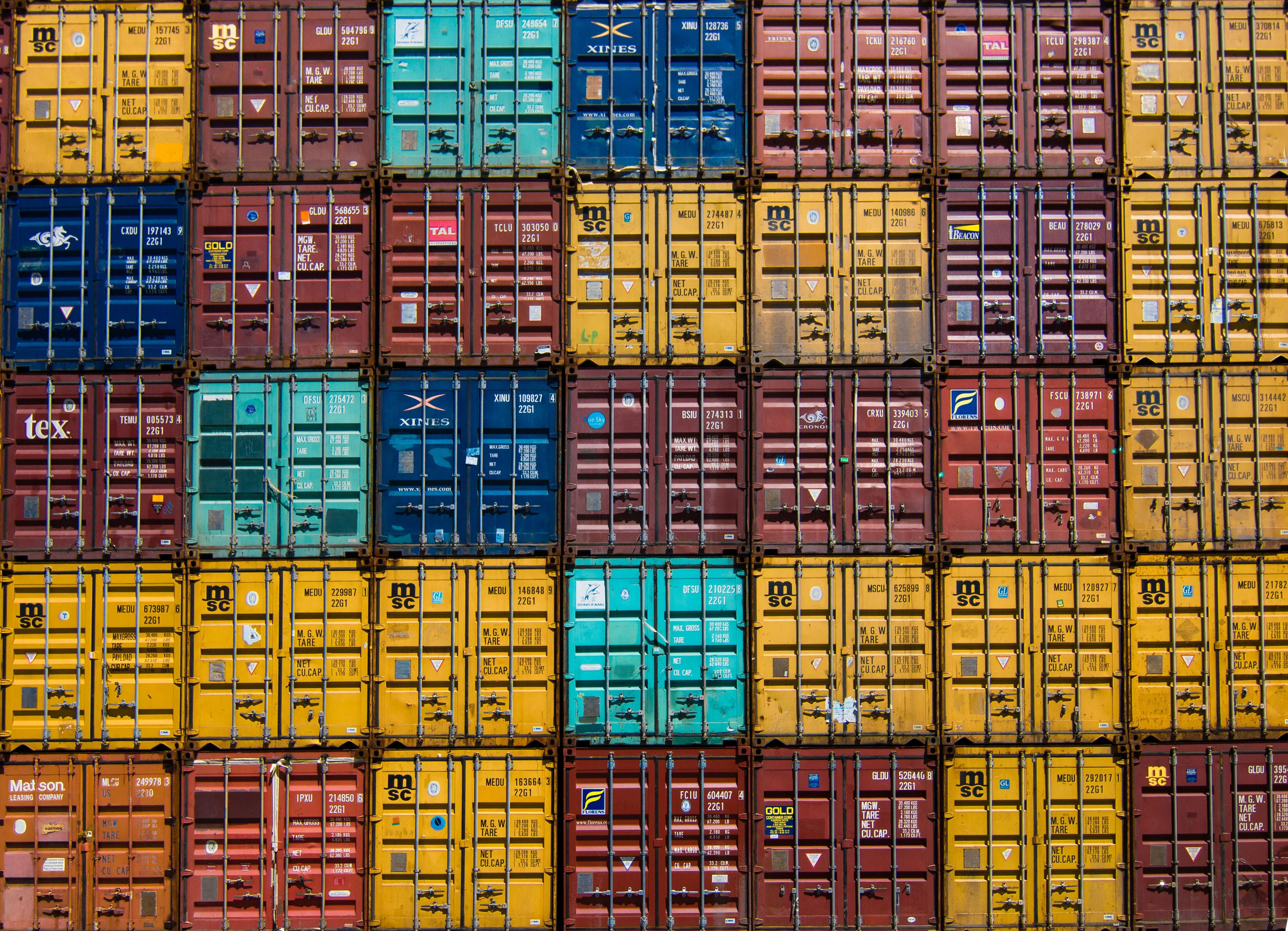 Stacked and locked shipping containers
