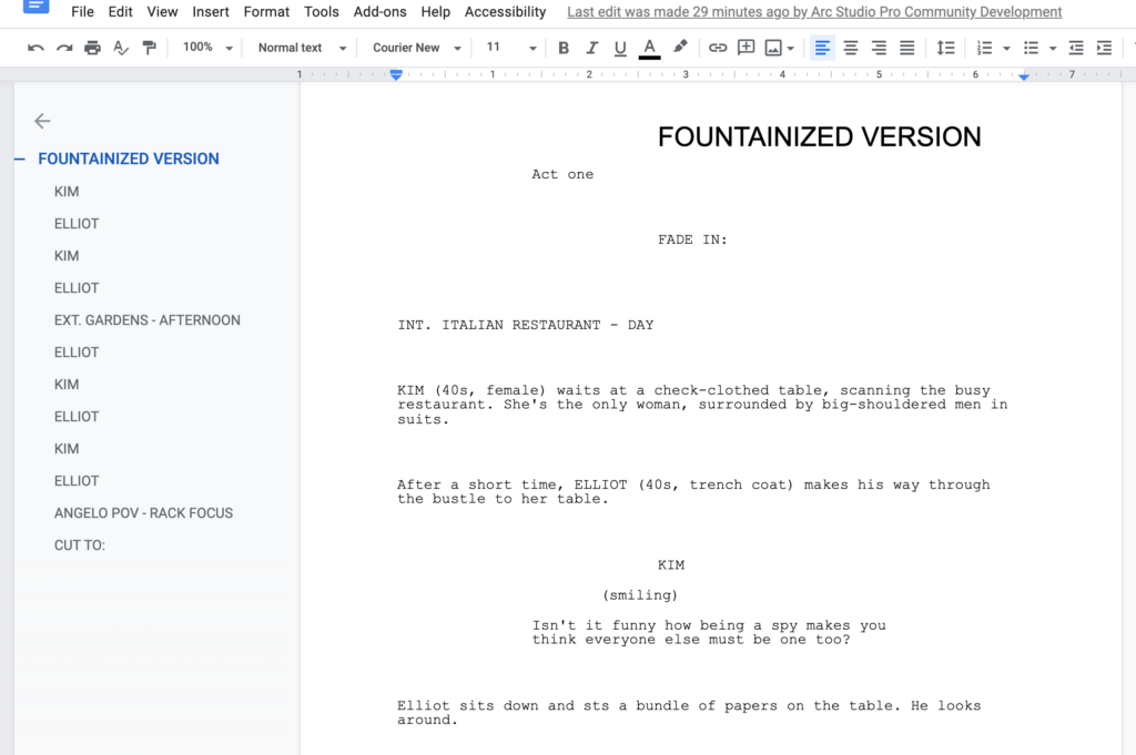 outline features google docs for screenwriting