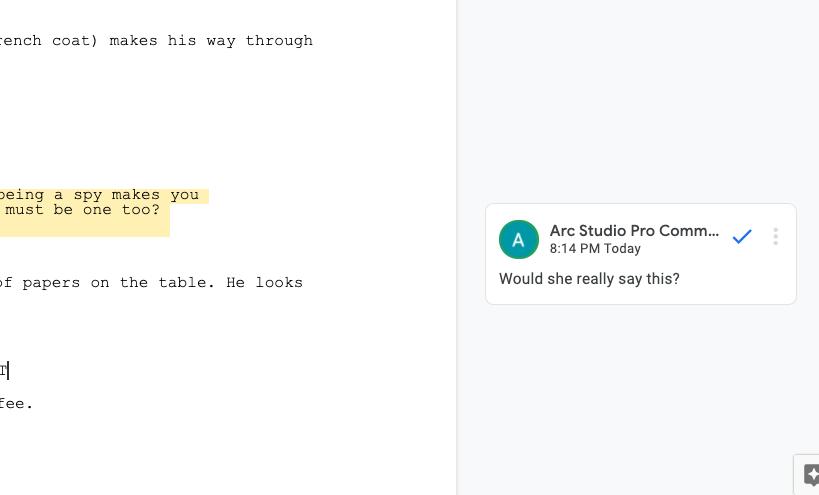 comment features on google docs