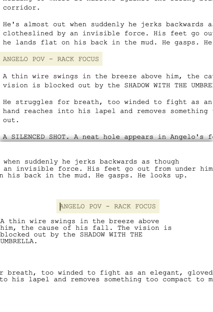 formatting inconsistencies when screenwriting on google docs