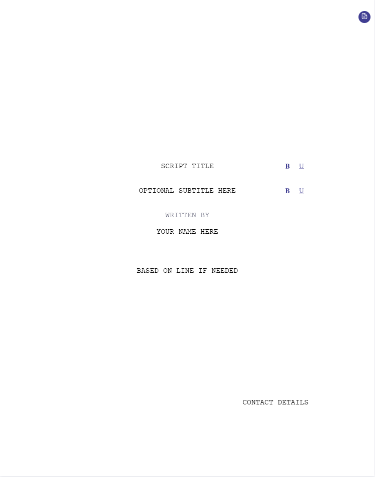 screenplay title page template