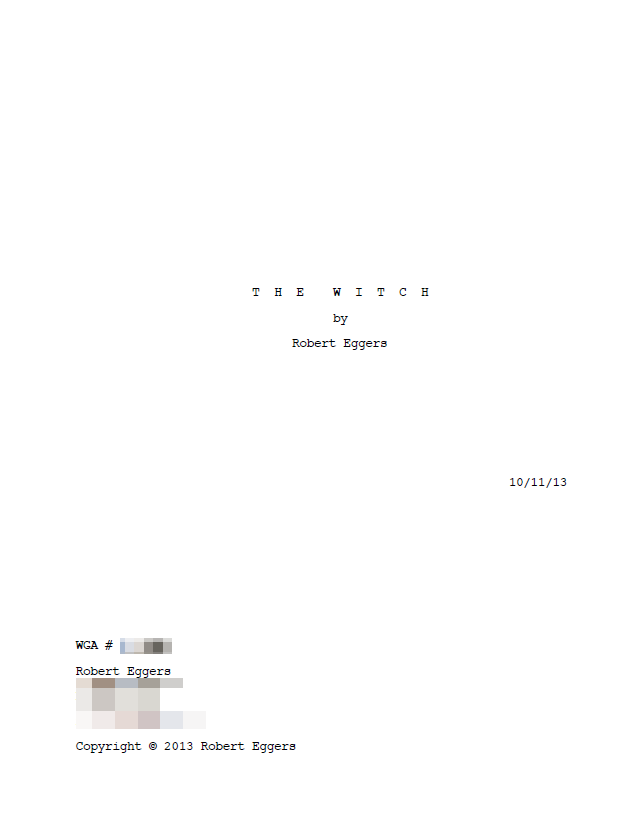 the witch screenplay title page