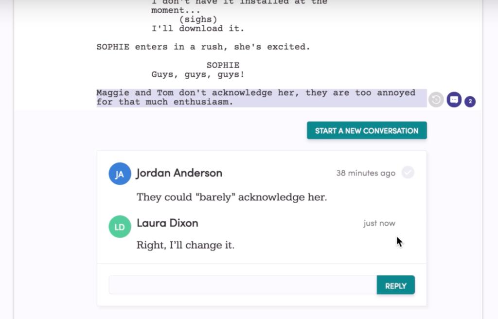 collaboration tool arcstudio pro screenwriting software