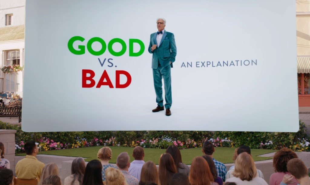 Michael explains the central story line of the TV series, The Good Place.
