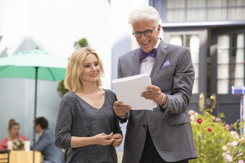 Eleanor and Chidi in the TV series, The Good Place.