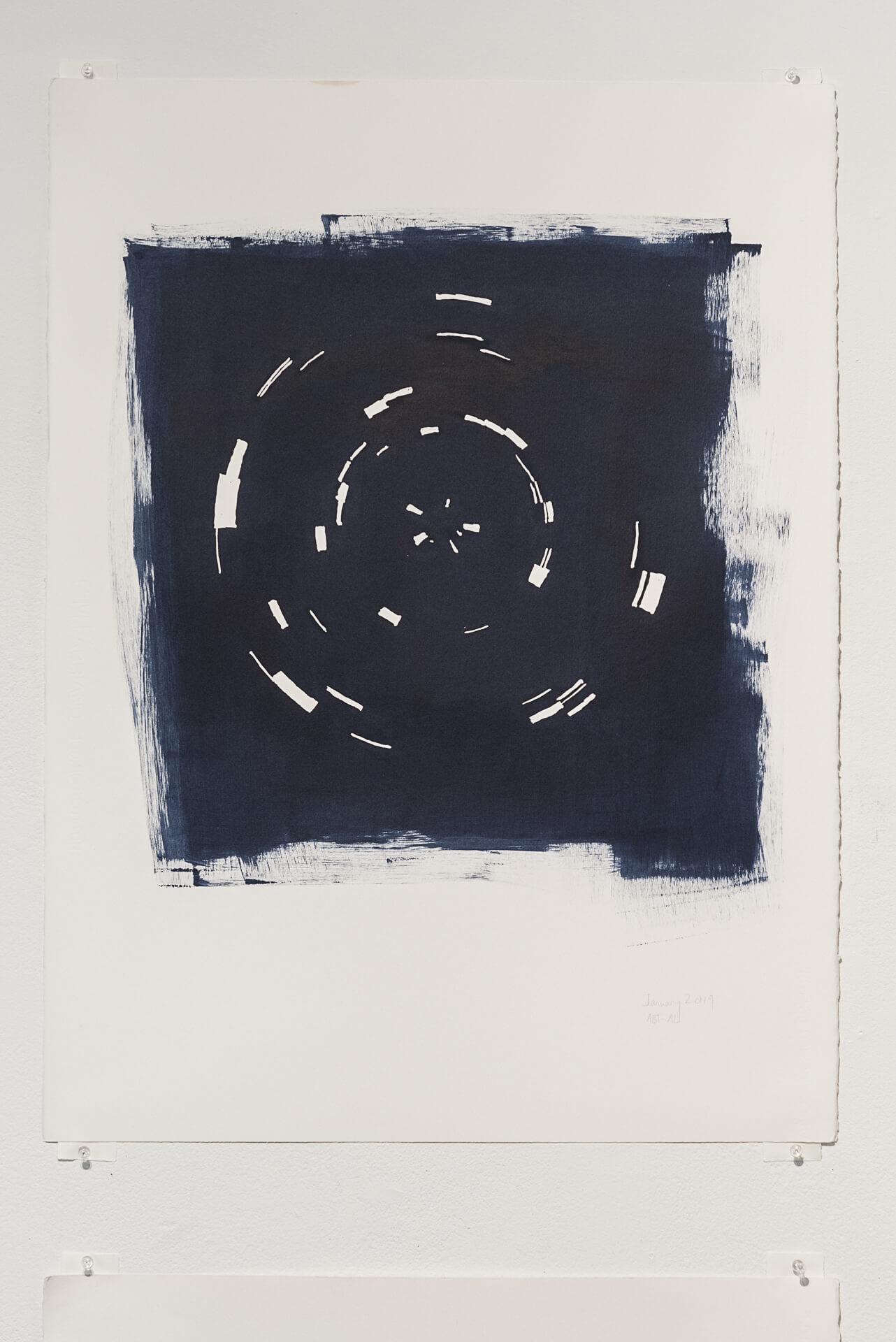 Indigo January 2019   Acrylic on paper, 30 x 22 inches