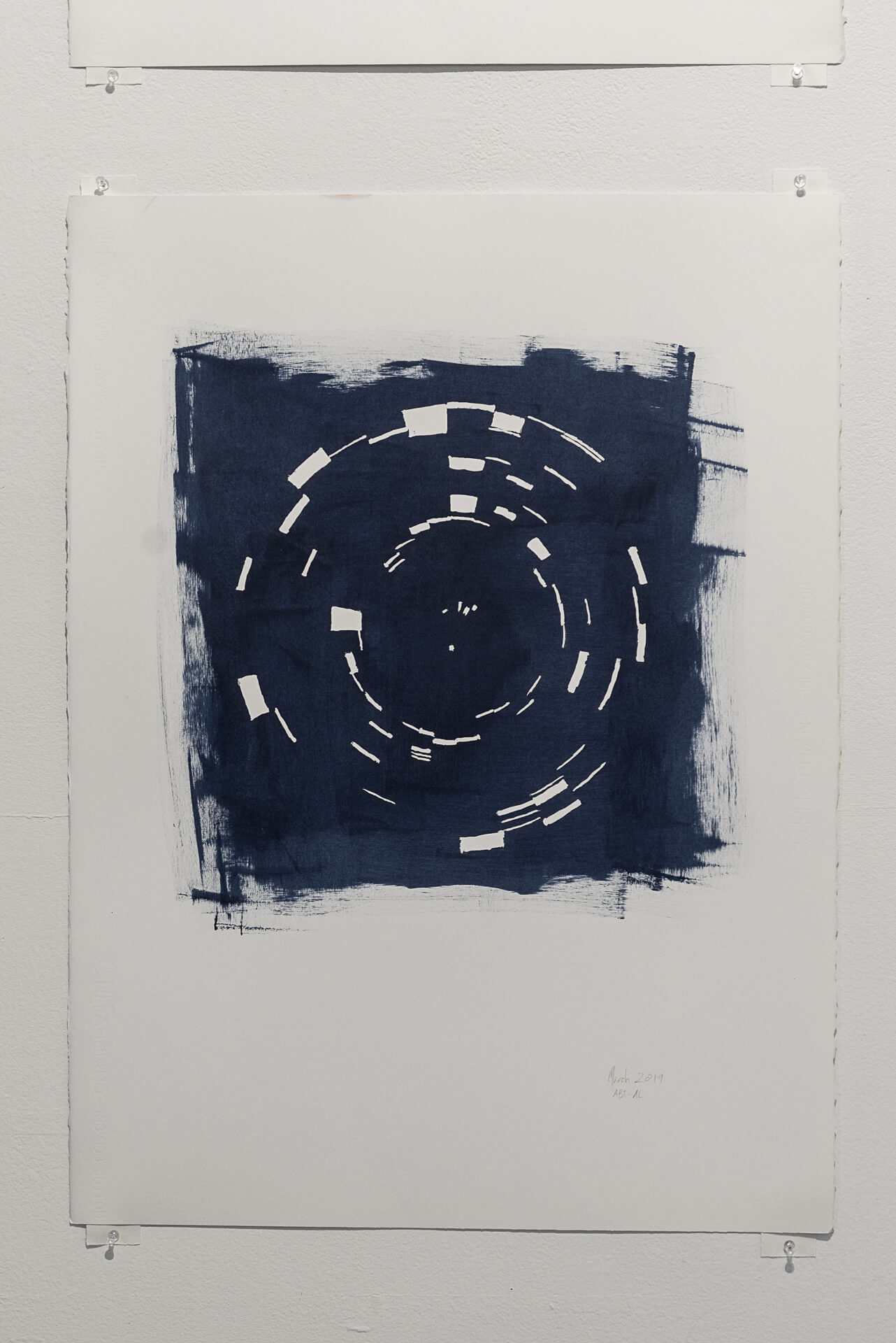 Indigo March 2019   Acrylic on paper, 30 x 22 inches
