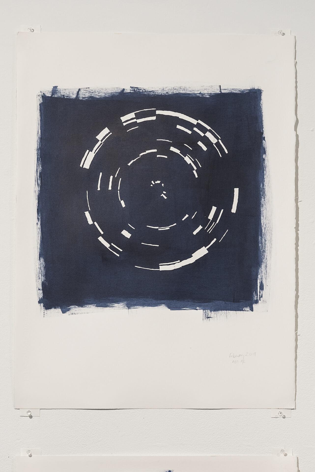 Indigo February 2019   Acrylic on paper, 30 x 22 inches