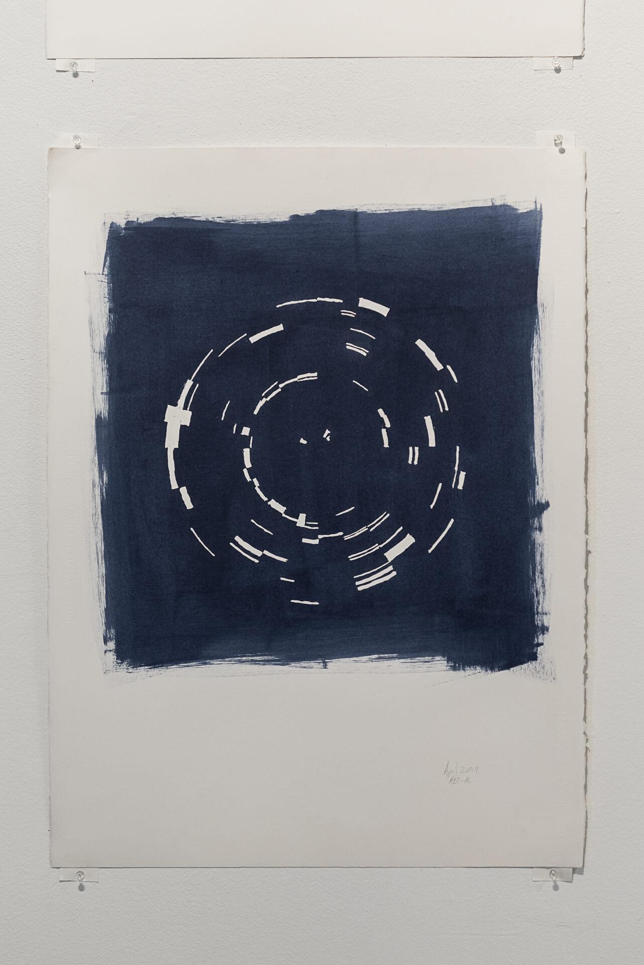 Indigo April 2019   Acrylic on paper, 30 x 22 inches
