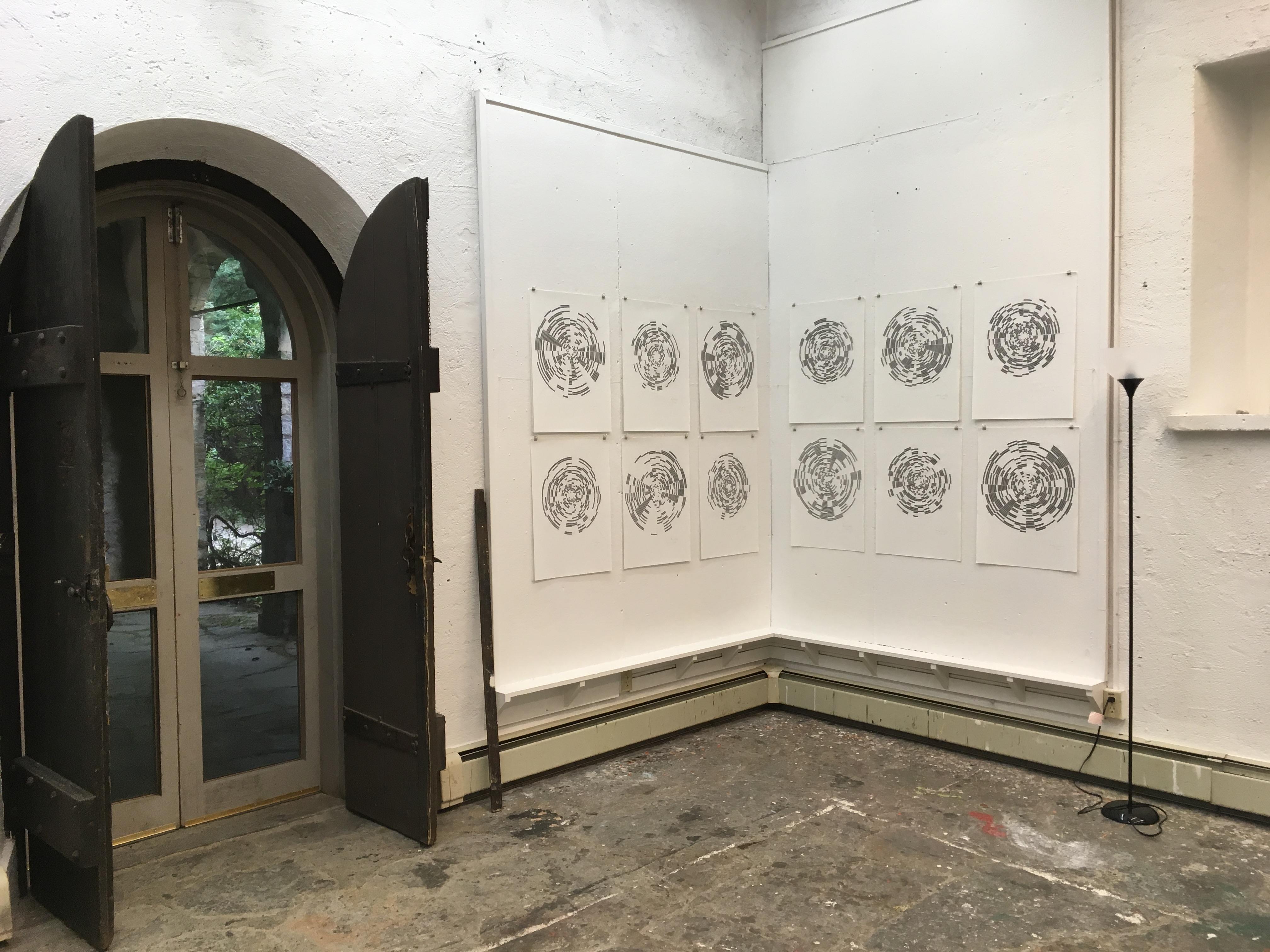 Month Drawings installed in Alexander Studio
