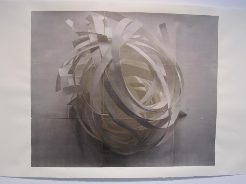 Luminous Sphere #2   photocopy transfer, acrylic, 40 x 26 inches, 2011