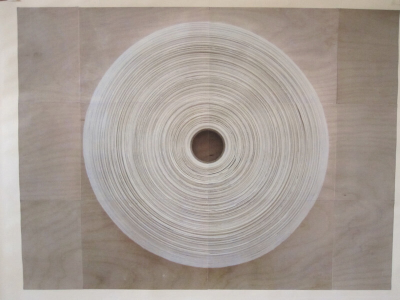 Paper Reel #1   photocopy transfer, acrylic, 40 x 26 inches, 2011