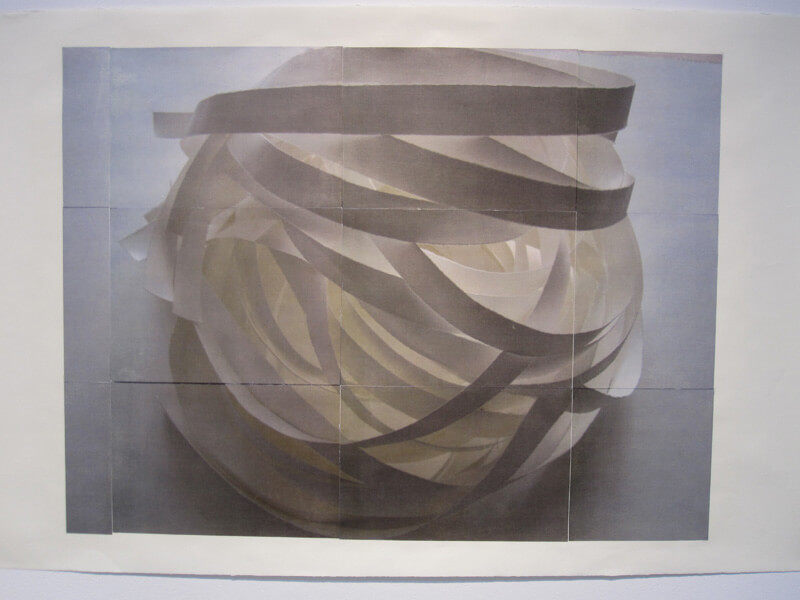Luminous Sphere #1   photocopy transfer, acrylic, 40 x 26 inches, 2011