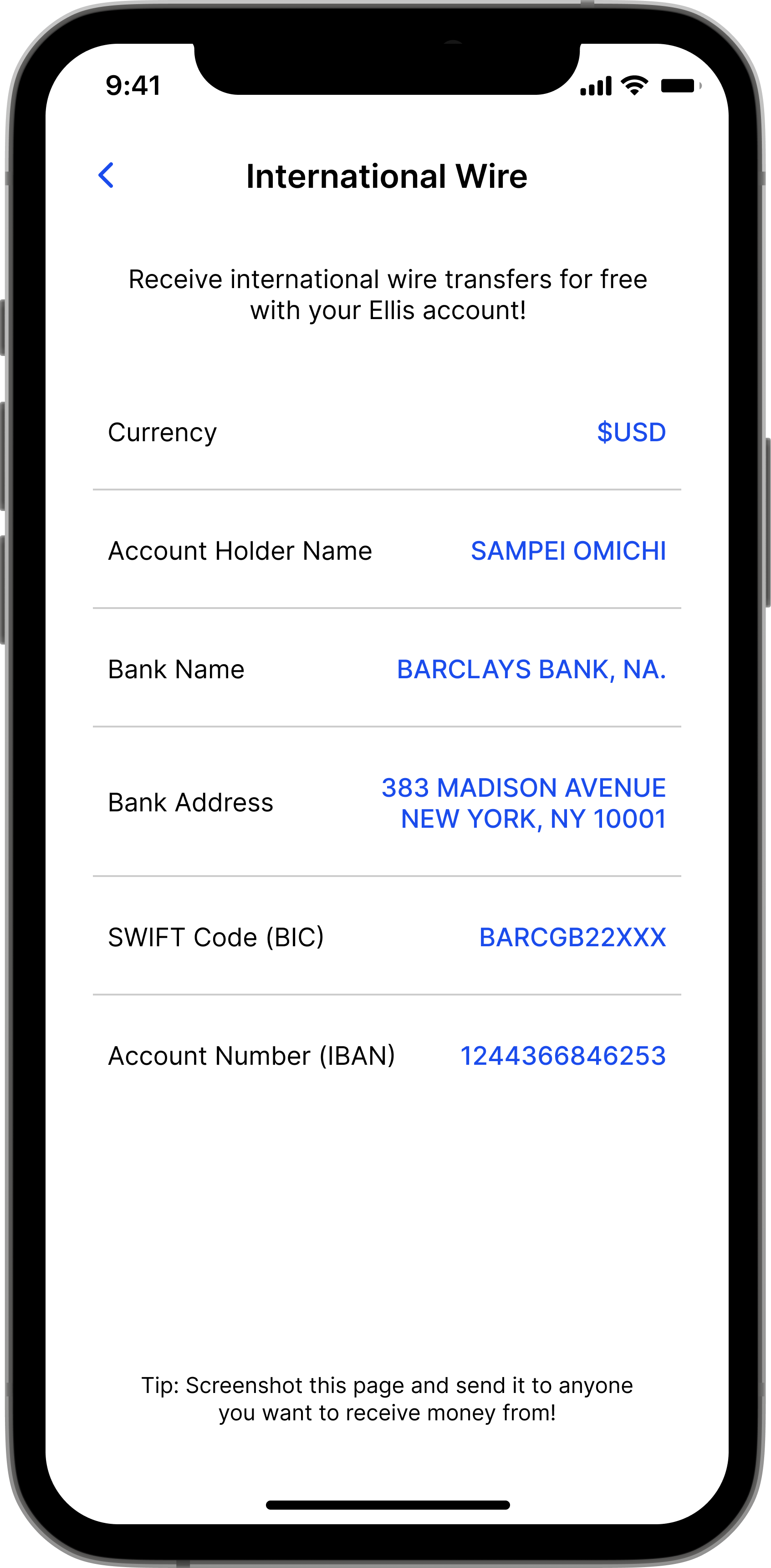 Preview of Ellis app showing free international wire transfers.