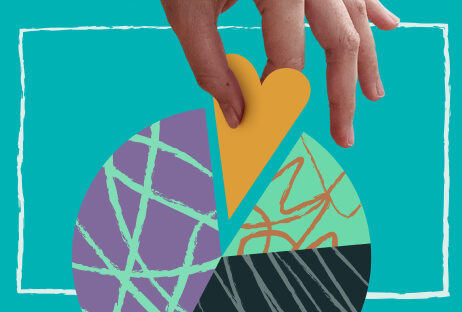 Stylised photo of a real hand pulling an illustration of a golden-heart-shaped slice out of a pie chart.