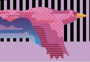 A pink version of the Blackbird logo bird.