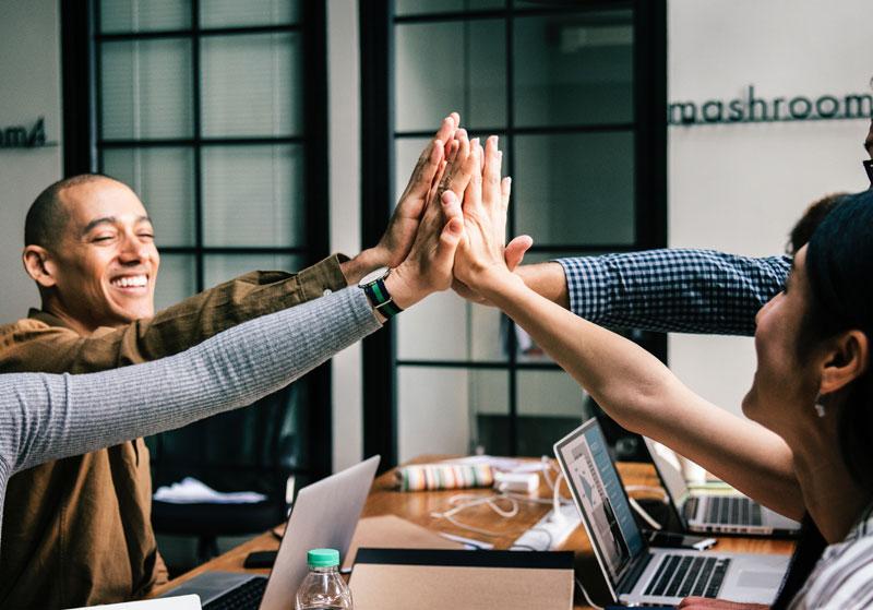 Team Hands Productivity Achievement