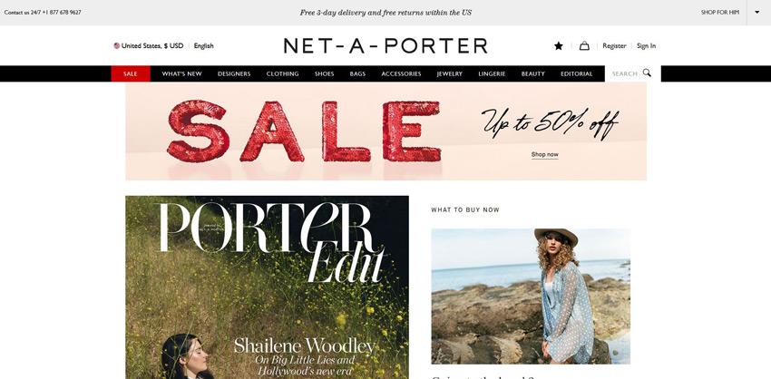 Net-A-Porter Landing Page
