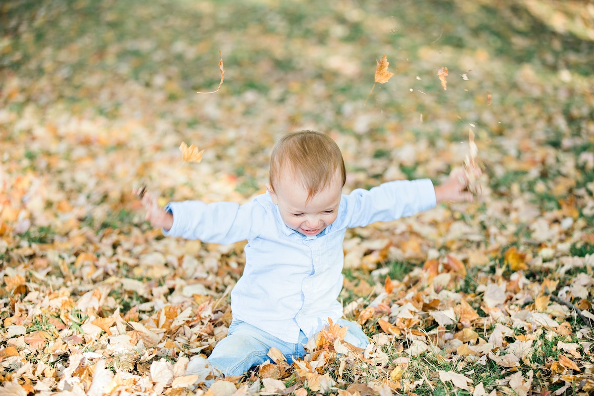 small child playing outside in the leaves on the grass in autumn