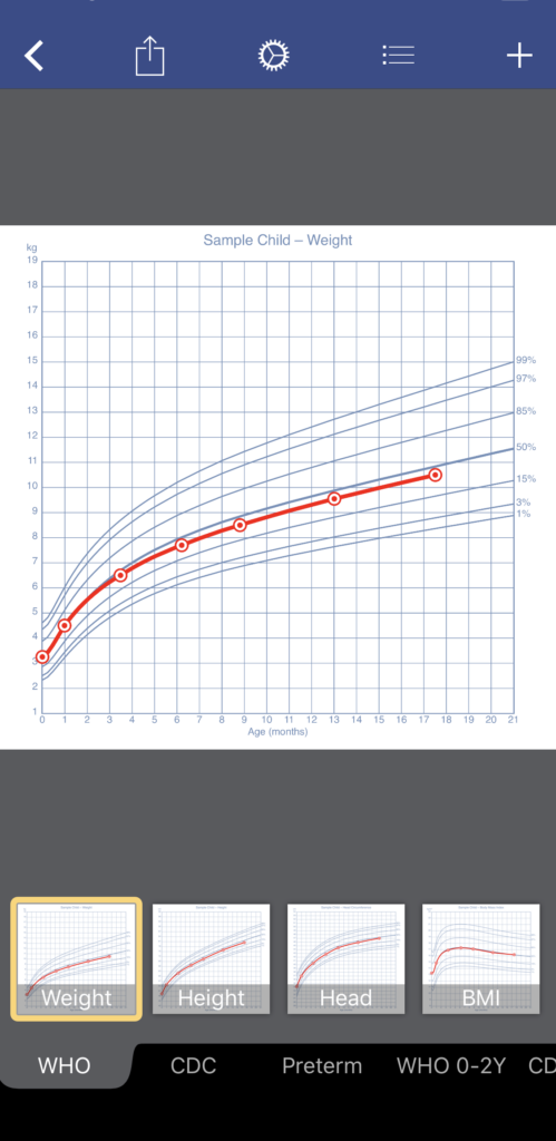Growth app store screenshot with a growth and percentile chart for new parents