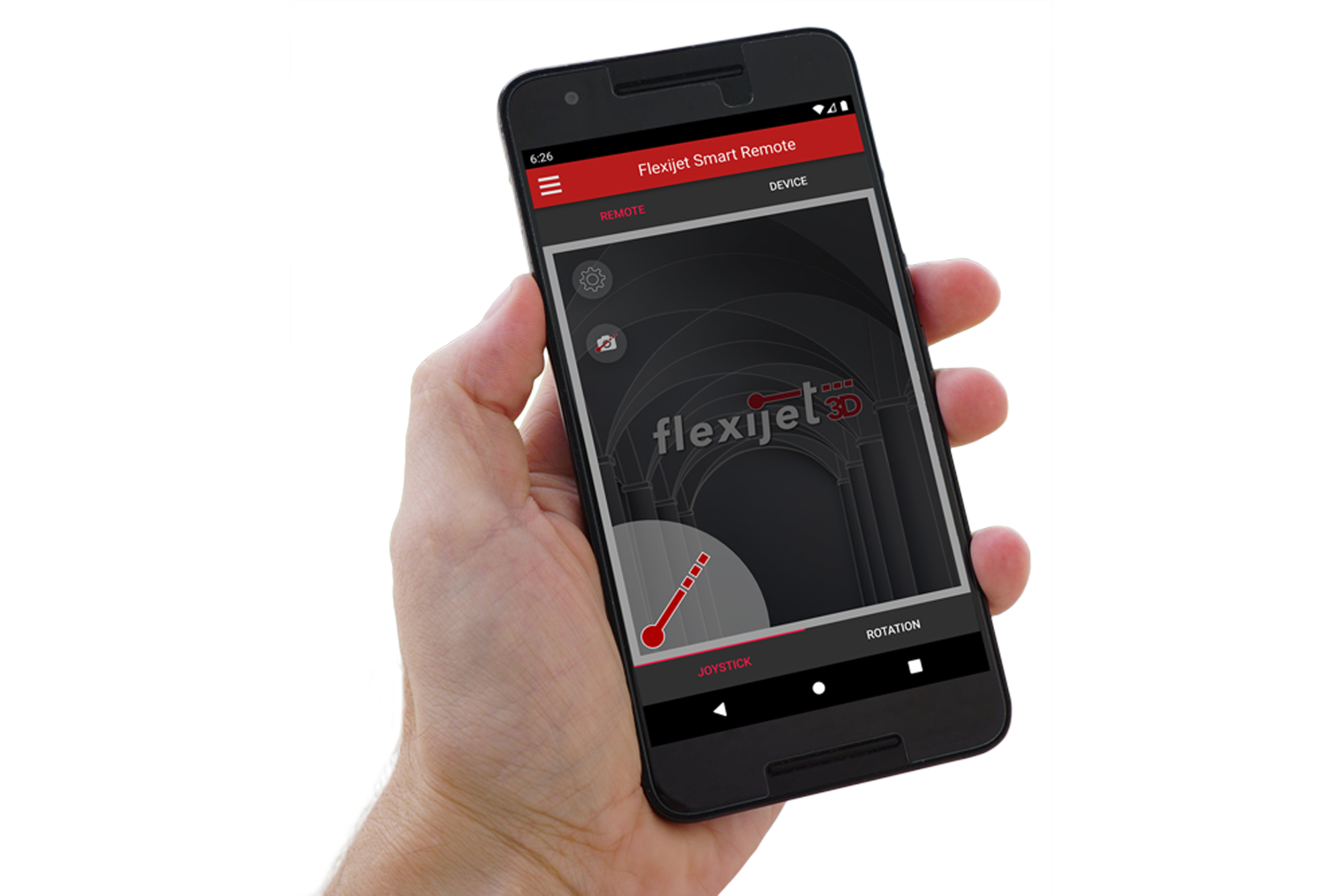 Image of user holding a smart phone with the Flexijet Smart Remote App interface.