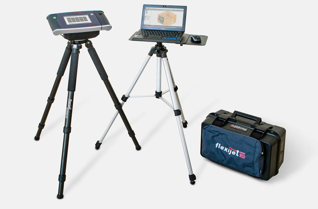Image of Flexijet 3D hardware with the versatlie 'Plaston' cas and tripod laptop platform.
