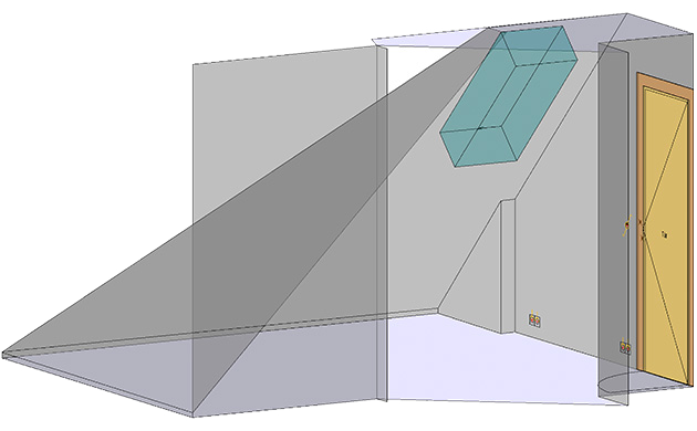 Image showing a 3D model of a room with a sloping ceiling.