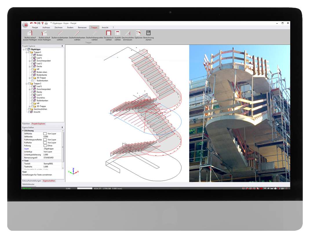 FlexiCAD software interface showing 3D measurement of a staircase for the fabrication of metal balustrading.
