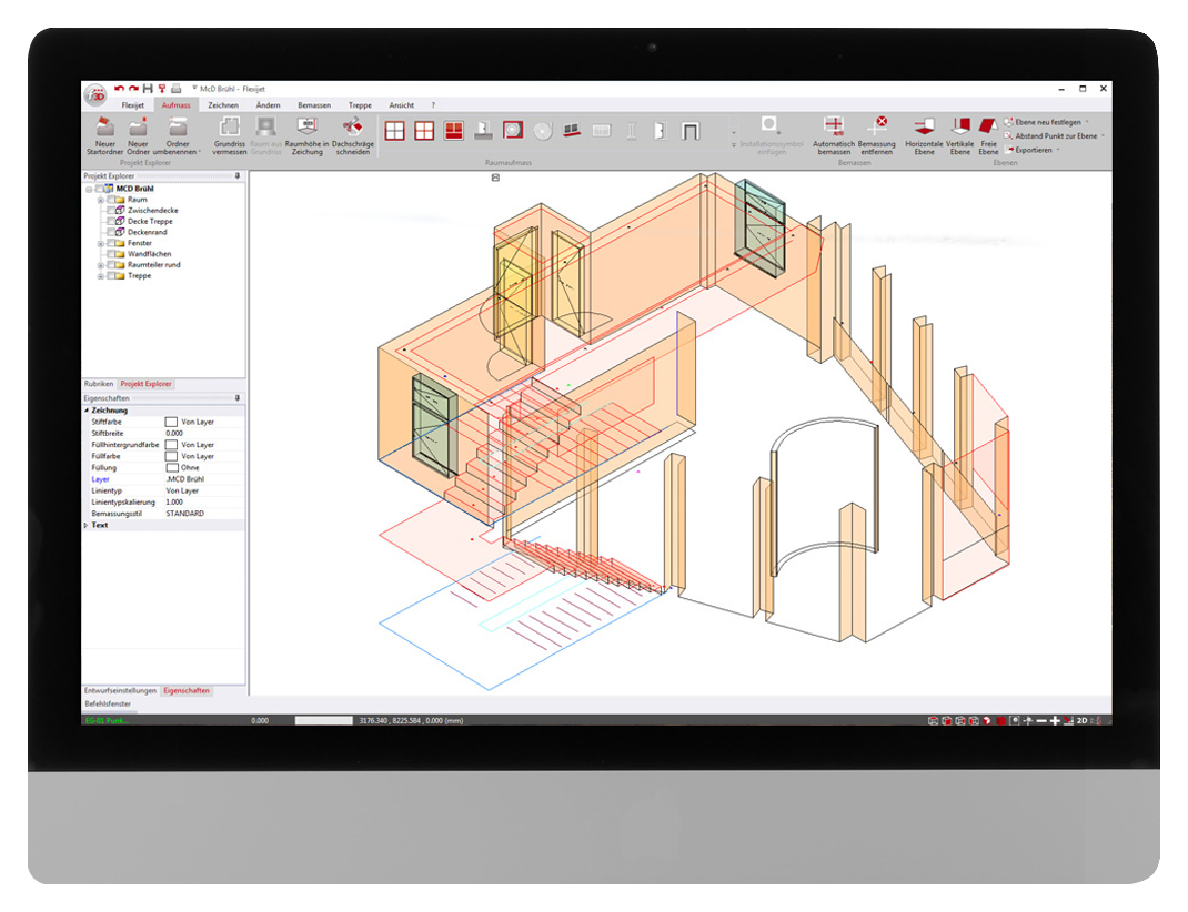FlexiCAD software interface showing 3D measurement of a residential dining area for joinery and cabinetry construction.