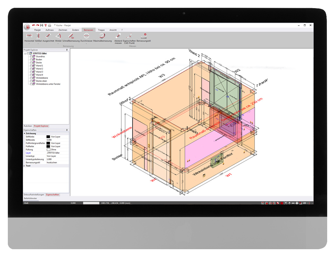 FlexiCAD software interface showing 3D measurement of a kitchen for joinery and cabinetry construction.