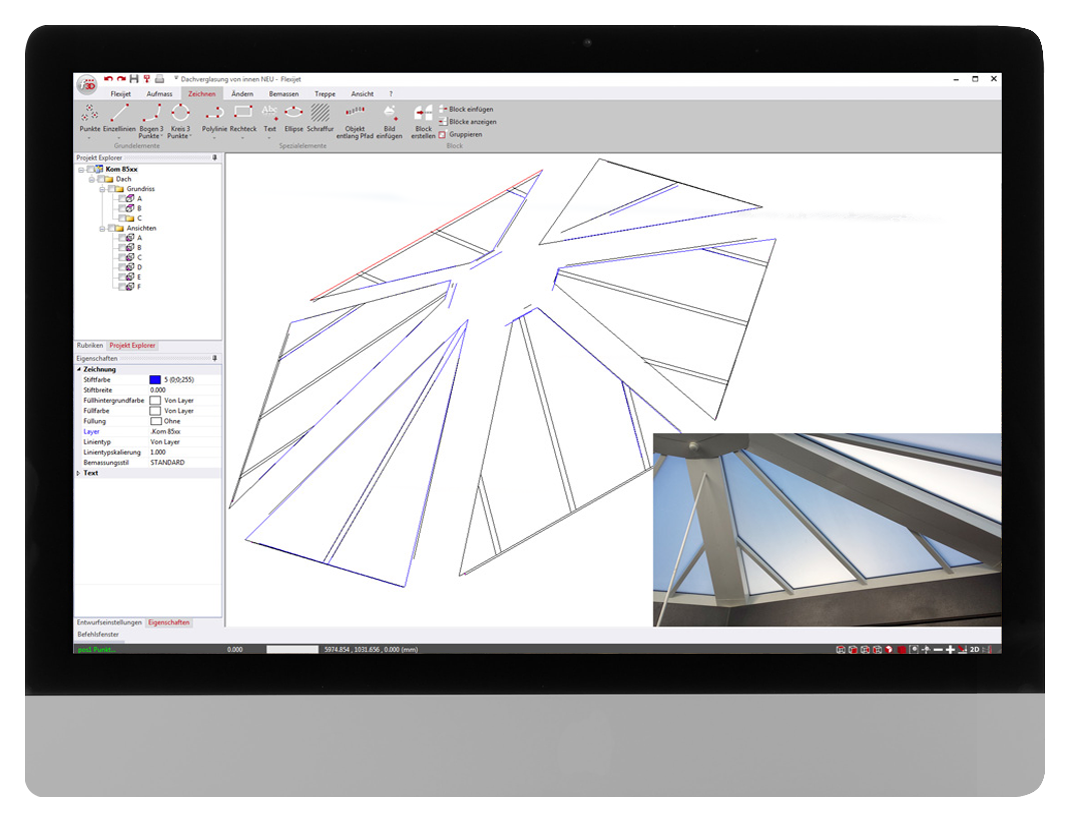 FlexiCAD software interface showing 3D measurement of a skylight for glazing installation.