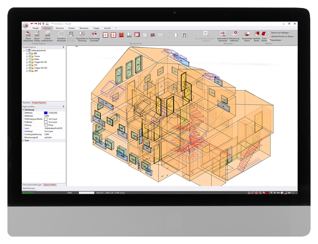 FlexiCAD software interface showing 3D modelling of an entire residence.