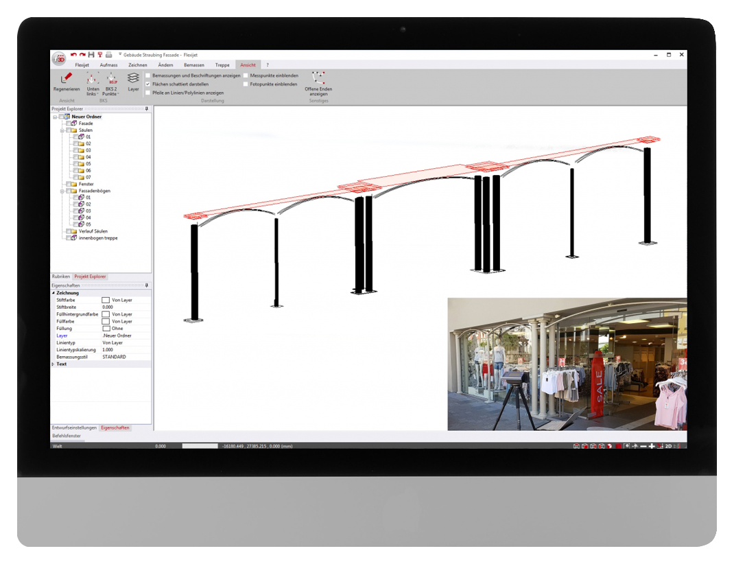 FlexiCAD software interface showing 3D model of a retail premises facade.