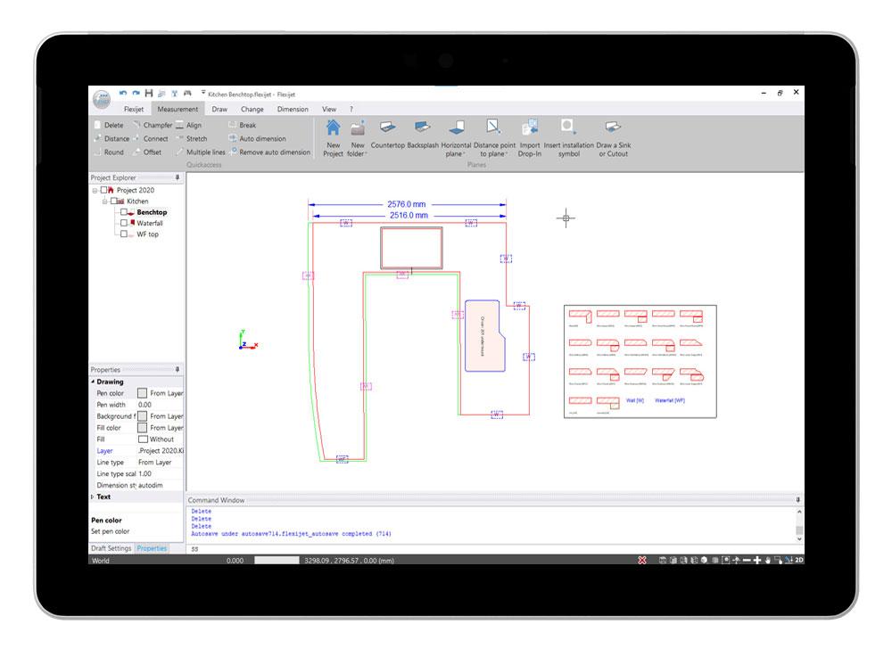 Flexijet STONE software interface showing 2D view of kitchen benchtop measurement.