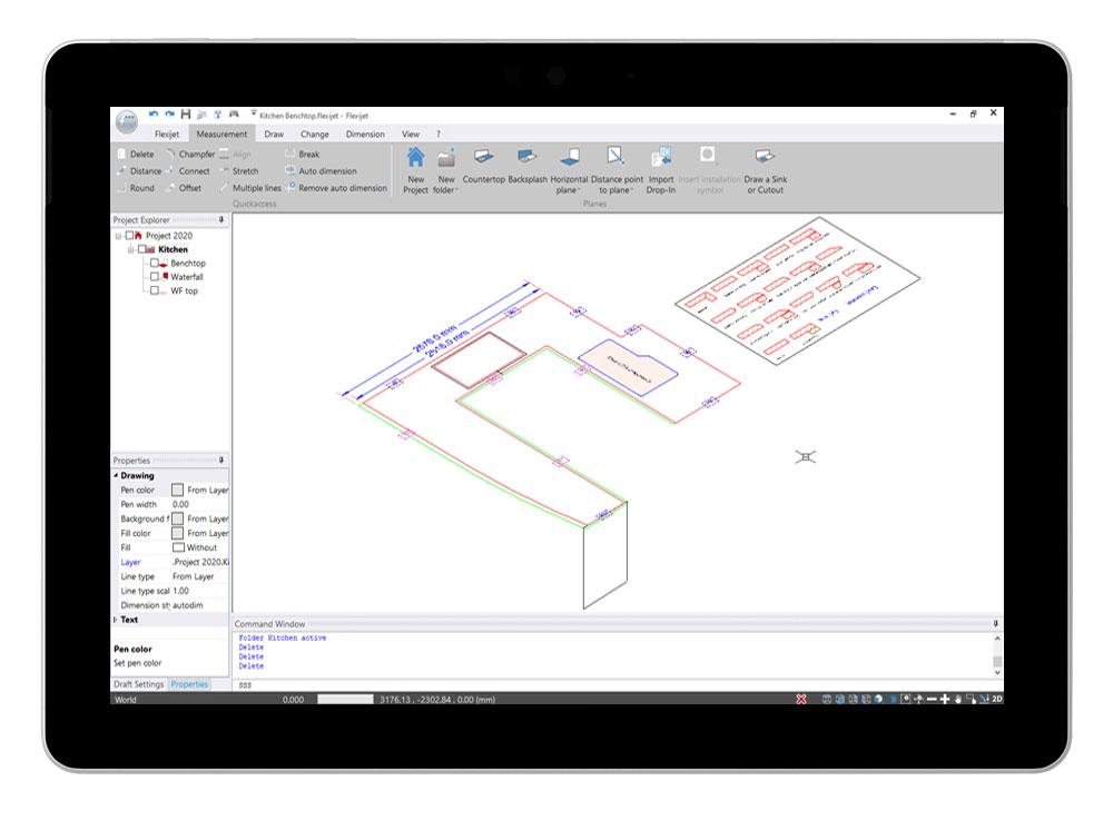 Flexijet STONE software interface showing 3D view of kitchen benchtop measurement.