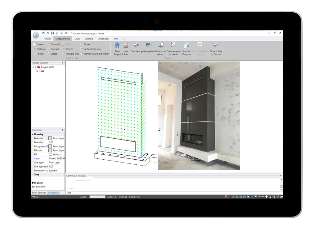 Flexijet STONE software interface showing 3D view of fireplace measurement.