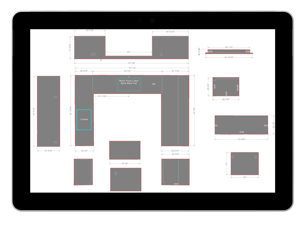 Flexijet STONE software interface showing 3D view of kitchen benchtop and splashback CAD file.