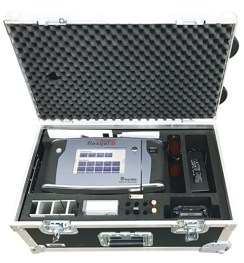 Image of the Flexijet 3D Pro Case showing the supplied hardware and accessories.