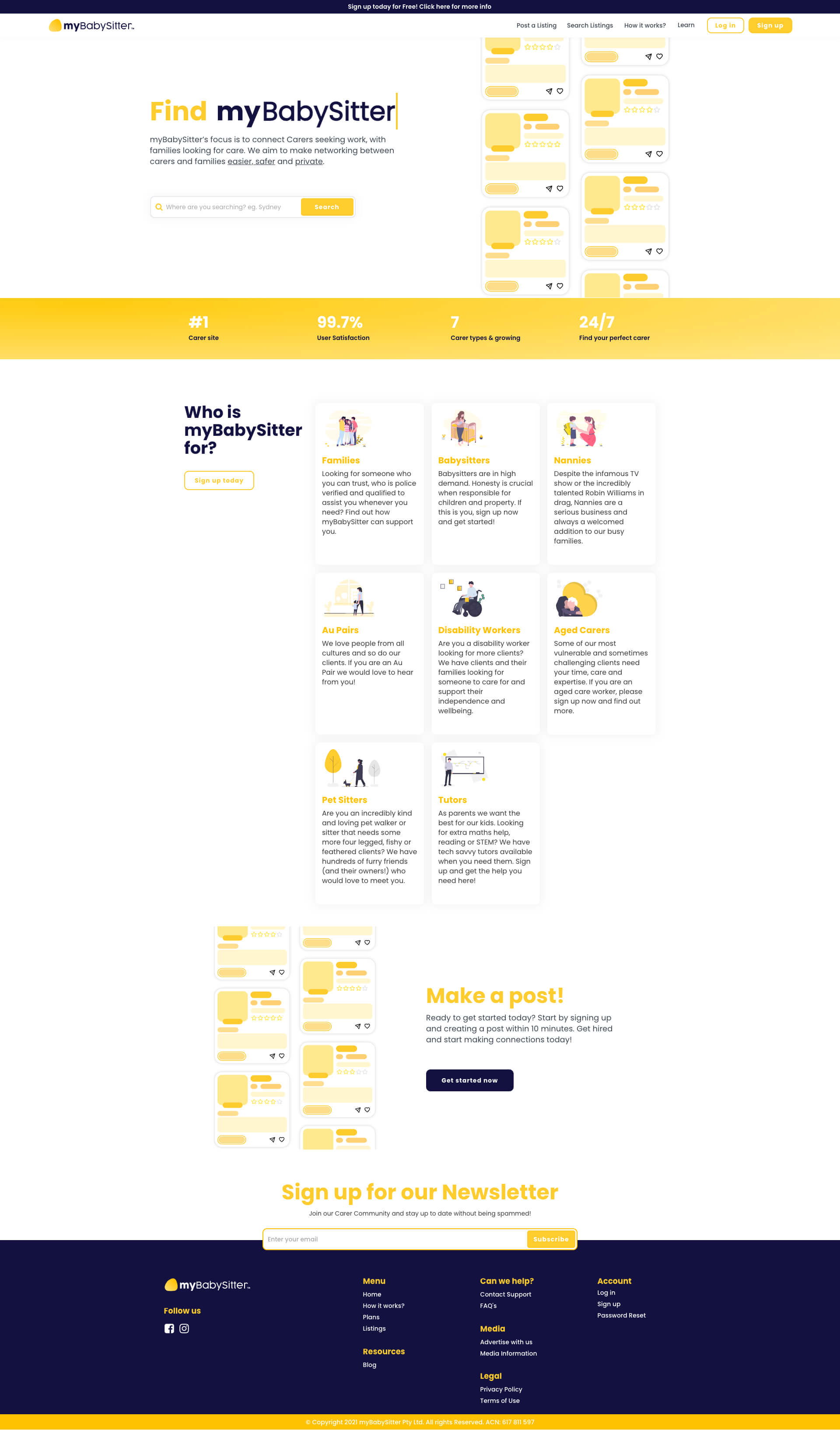 myBabySitter Homepage
