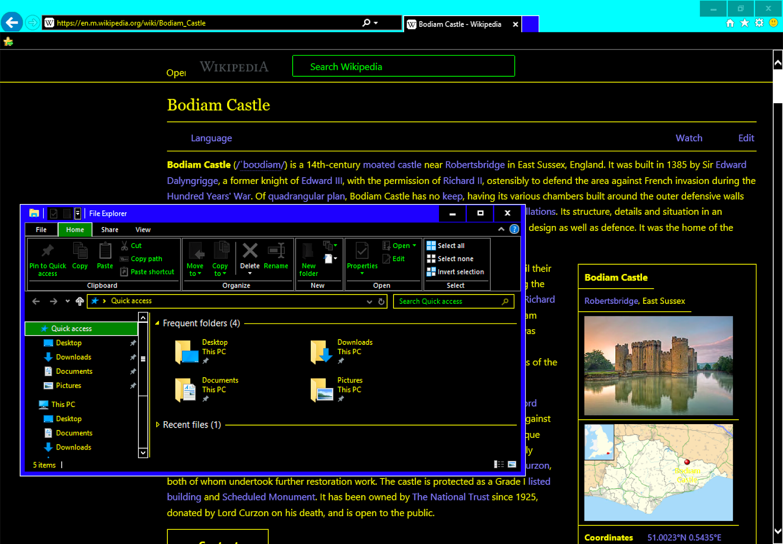 Browser window in high contrast mode.