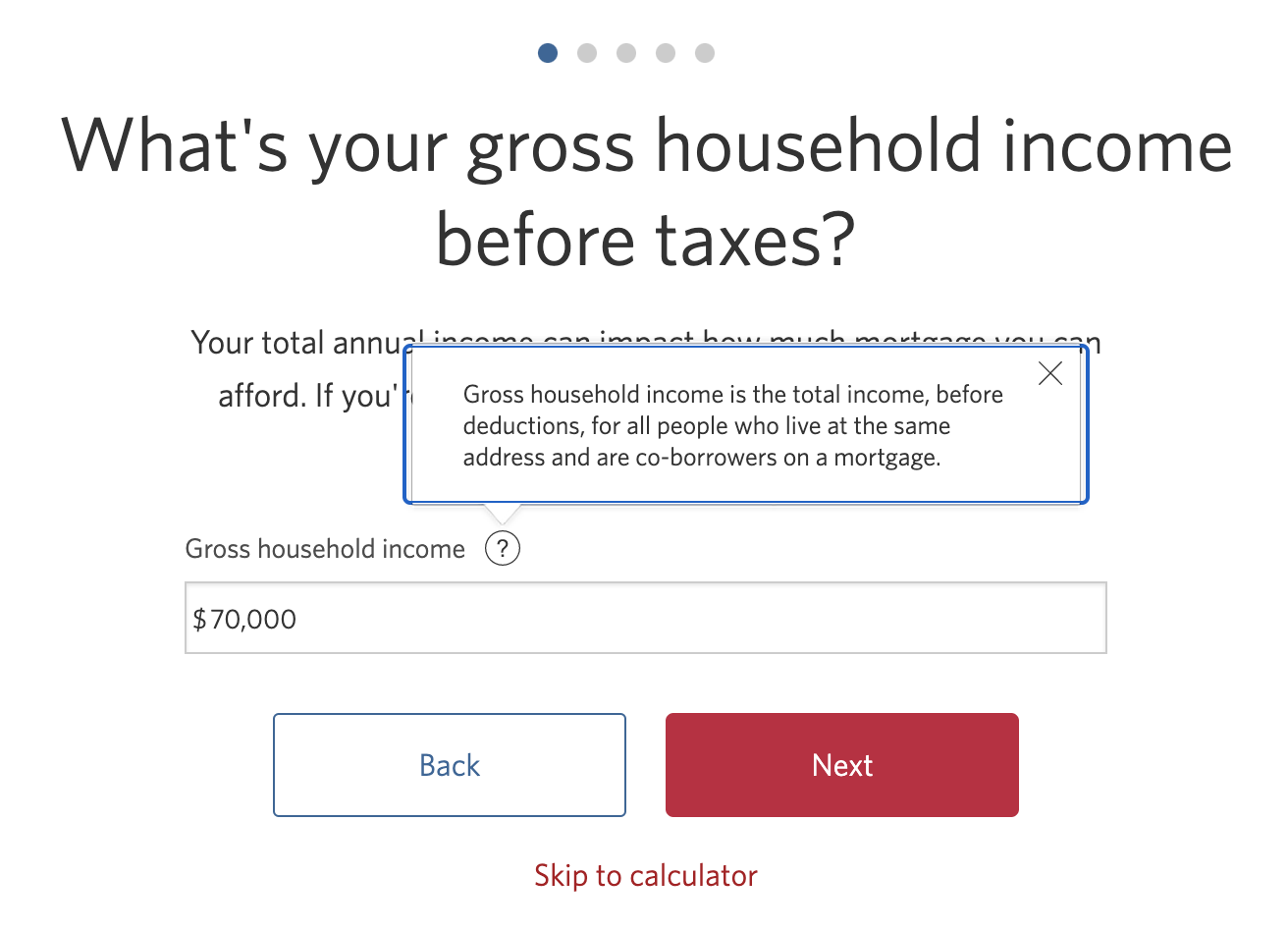 Form field for gross household income including tool tip with the definition