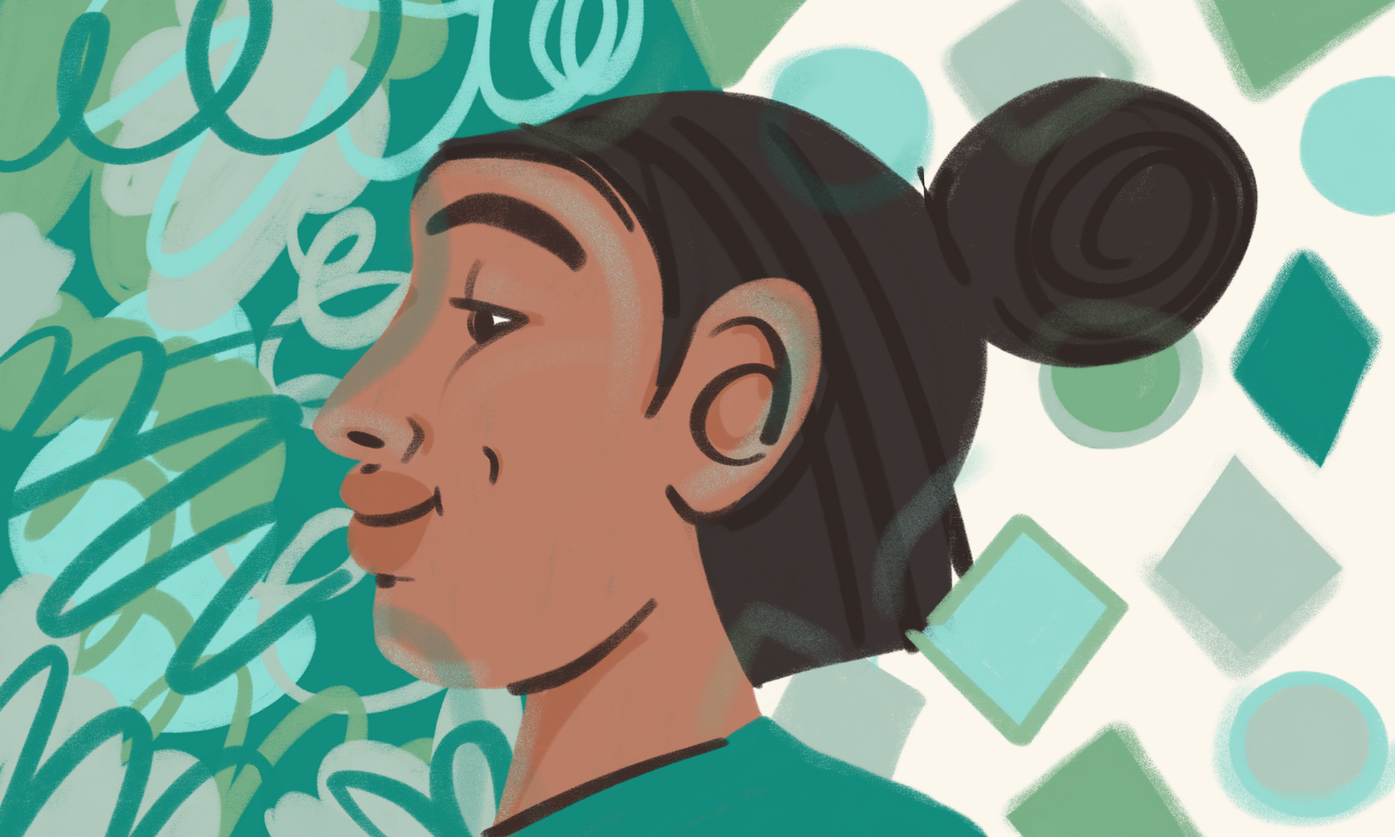 An illustration of a side-profile of a person with their hair tied up. One side on the background shows abstract swirls, and the other side shows abstract shapes.
