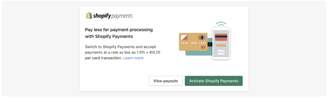 Shopify Payments announcement with an image of payment options, as a visual example.