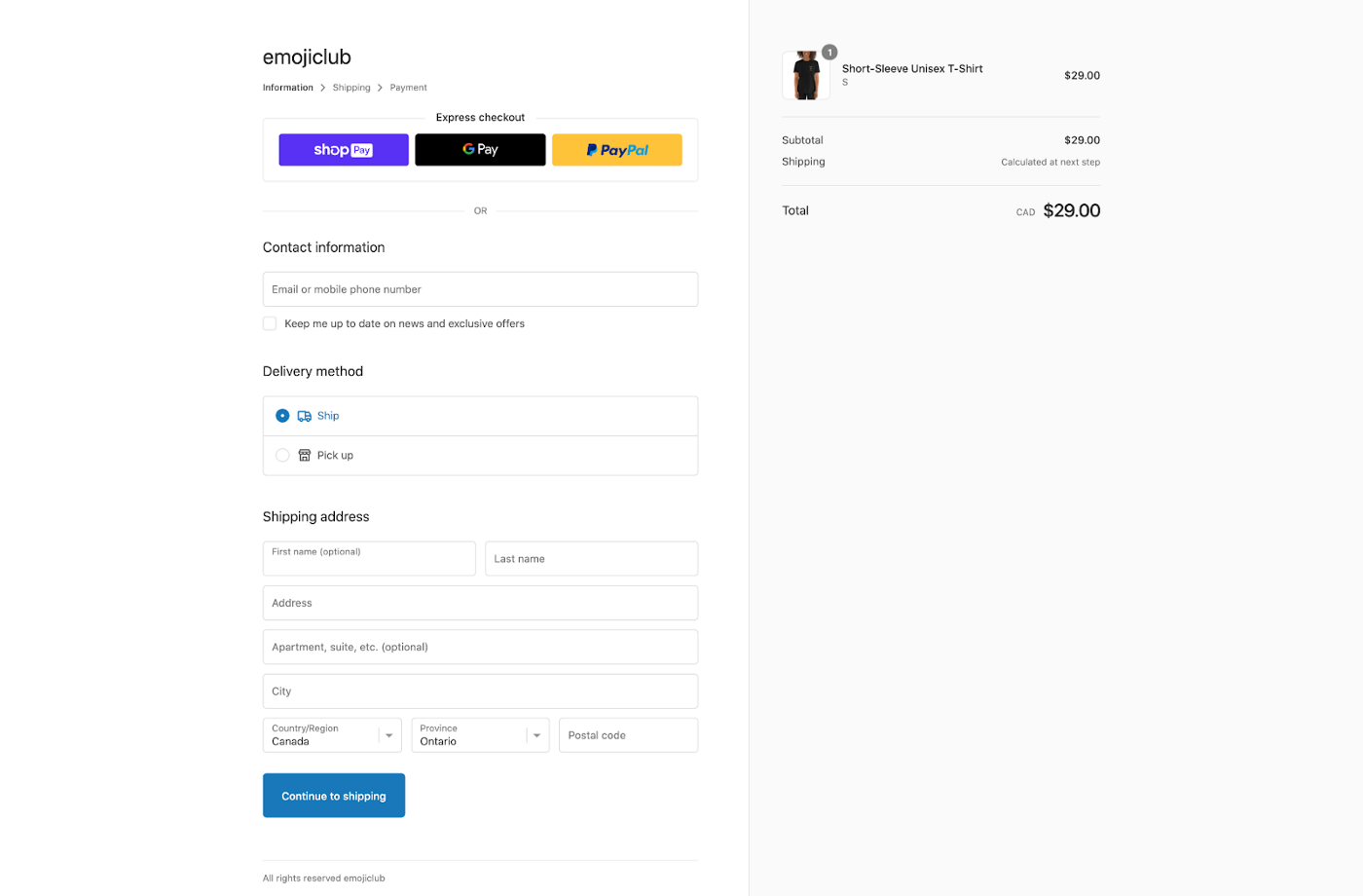 Checkout screen with 3 pages for information, shipping and payment and plenty of whitespace.