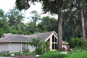 North Florida landscape design with tropical elements with a house