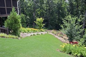 Green lawn with hardscaping and plant beds in Gainesville landscaping