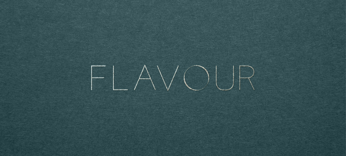 flavour logo in foil on green background