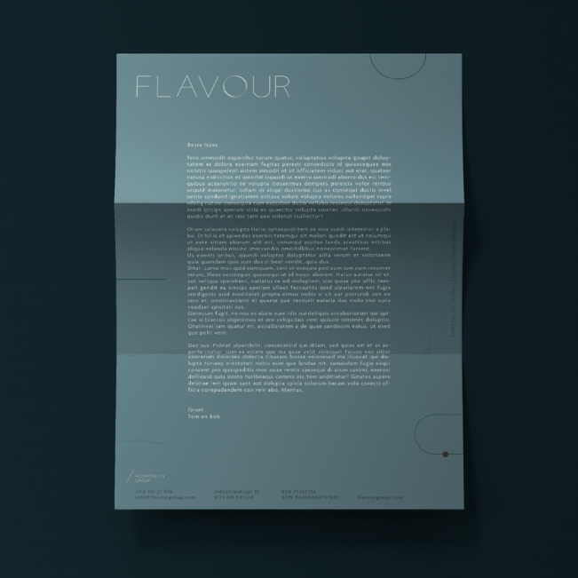green letterhead design for flavour hospitality by chapters design