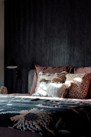 interior design with green bedsheets
