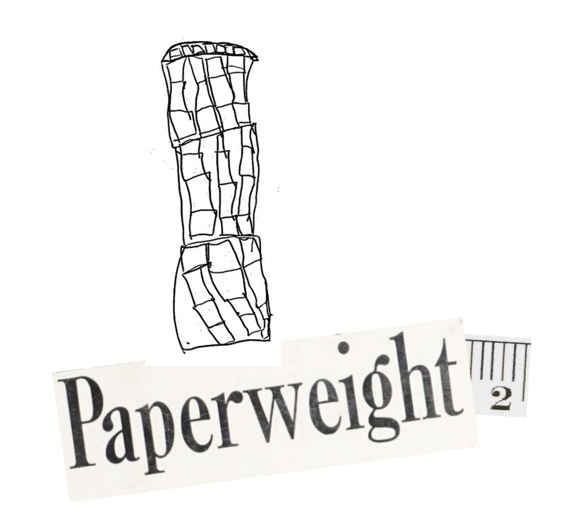Late Works: Paperweight 2 logo, which contains the word Paperweight on one piece of paper, a 2 from a ruler on another, and an abstract tower-like pen drawing on a third.